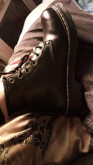 勋度 马丁靴男真皮女靴子高帮冬季真皮靴英伦复古潮流休闲男鞋靴棉鞋情侣靴工装鞋 漆黑 44 晒单图
