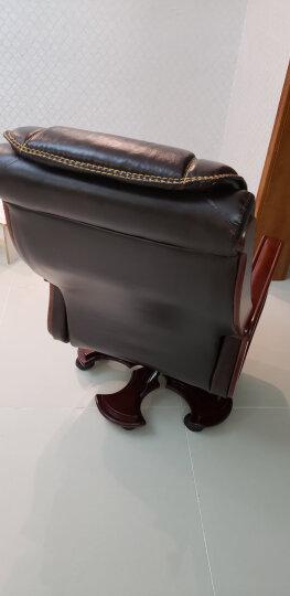 纽麦 老板椅真皮可躺按摩大班椅实木转椅电脑椅家用升降办公椅子 10轮咖啡头层牛皮 固定扶手 晒单图