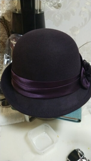 布塔秋冬帽子女韩版羊毛帽花朵小礼帽保暖羊毛呢帽毡帽卷边盆帽 枣红 晒单图