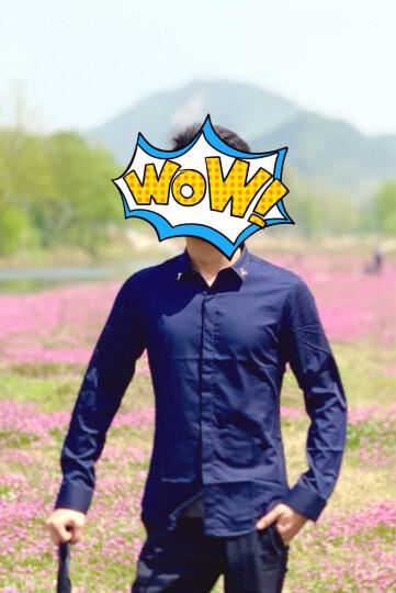 JDV男装 新款男士领针装饰纯色长袖衬衫 WIF6050NVY 藏青 175/92A 晒单图