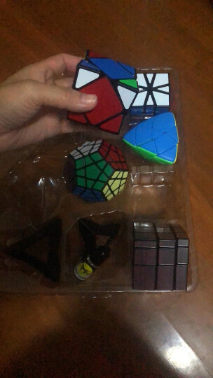 圣手异形魔方套装8件组合礼盒装儿童益智玩具三阶镜面金字塔斜转SQ1五魔方 黑色 晒单图