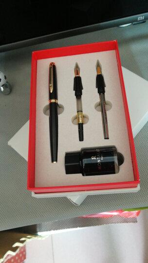 梦特娇(MONTAGUT)钢笔/美工笔礼盒墨水套装办公学生练字书法免费刻字定制 磨砂黑(钢笔0.5+特细0.38+签字笔0.5) 晒单图