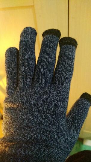 卡兰薇 触摸屏毛线手套男女冬季韩版情侣全指防滑手套骑车保暖加绒加厚 女款-藏青色 晒单图