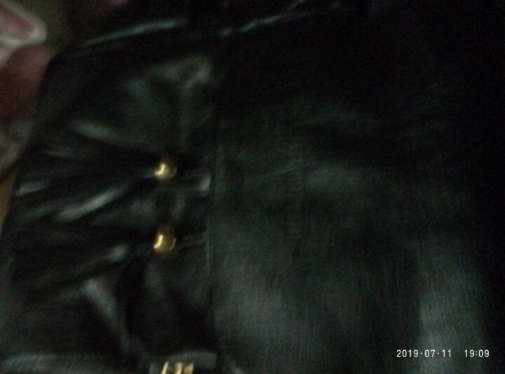女士双肩包女2019新款韩版时尚百搭皮质背包休闲书包女生pu软皮 黑色 晒单图