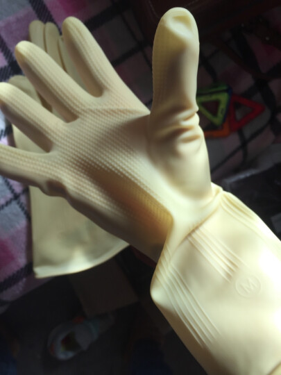 双一 牛筋家用手套M 洗碗防滑耐磨橡胶手套 3副 晒单图