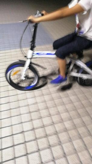 永久20寸7级禧玛诺变速折叠自行车双碟刹高刀圈台湾建大车胎男女式学生成人轻便单车 YE2017 白蓝色 晒单图