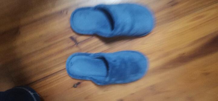 FaSoLa  蝴蝶结暖拖鞋 秋季珊瑚绒拖鞋 男女家居拖鞋  室内情侣拖鞋 珊瑚绒拖鞋  蓝色(女款39-40) 晒单图