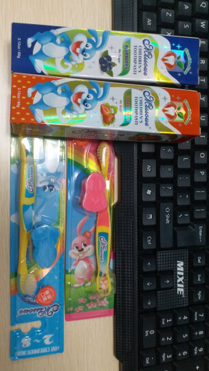 蜜语Missoue儿童牙刷牙膏套装(60g*2+软毛牙刷*2)无氟婴幼儿宝宝无氟牙膏 进口 晒单图