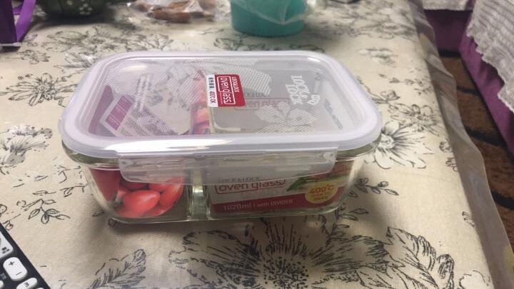 乐扣乐扣 分隔耐热玻璃保鲜盒微波炉饭盒 密封便当盒餐盒零食品水果饺子盒 冰箱冷冻收纳储物整理盒 600ml 晒单图