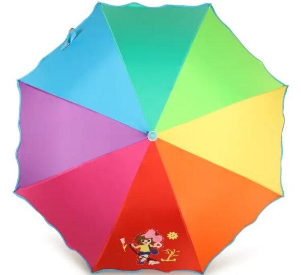 天堂伞 七彩童年儿童黑胶彩虹伞小学生卡通公主防晒晴雨伞太阳伞 快乐女孩 晒单图
