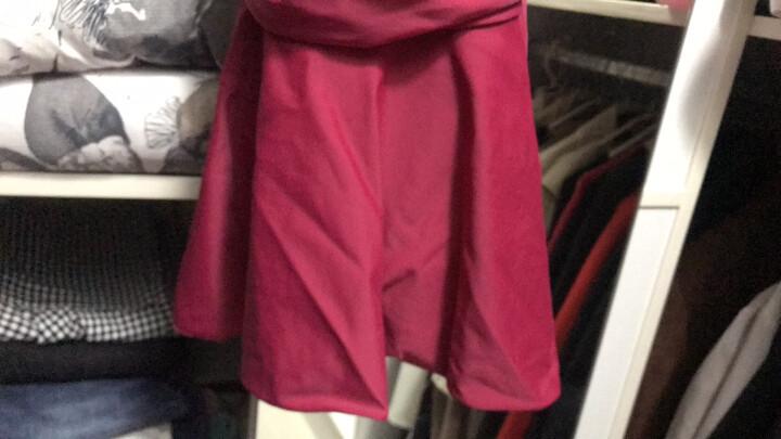 李宁(LI-NING)泳衣女士修身遮肚显瘦连体裙式温泉游泳衣保守大码泳装 020-2深玫红 XL 晒单图