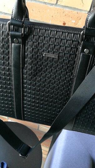 奥康(Aokang)男士手提包横款商务牛皮单肩包男休闲斜挎包公文包 8631225101 黑色 晒单图