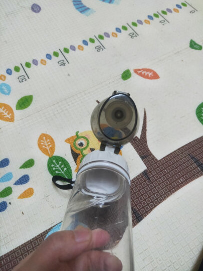 绿珠lvzhu 运动水杯 便携户外旅行随手塑料杯子 大容量男女学生防漏茶水分离水壶PC605透明黑 550ml 晒单图