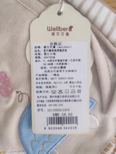 威尔贝鲁WELLBER双层彩棉竹纤维婴儿隔尿垫可水洗夏季大号防水床垫 贪睡熊 70*120CM 晒单图