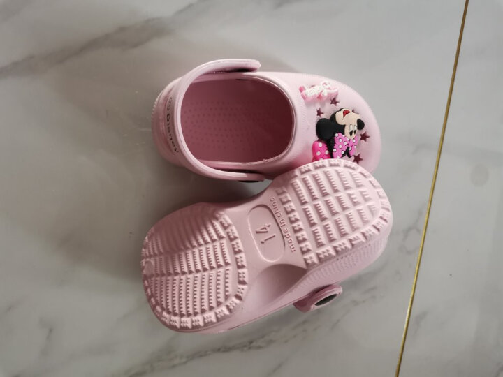 迪士尼 Disney 拖鞋 儿童凉拖鞋宝宝洞洞鞋防滑家居鞋099粉色14码内长13.5cm 晒单图