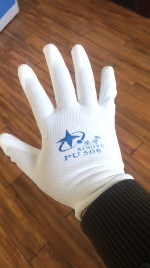 星宇XINGYU劳保手套PU508 涂层电白针织尼龙PU涂掌手套透气手套企业专享12副 白色 L码 晒单图