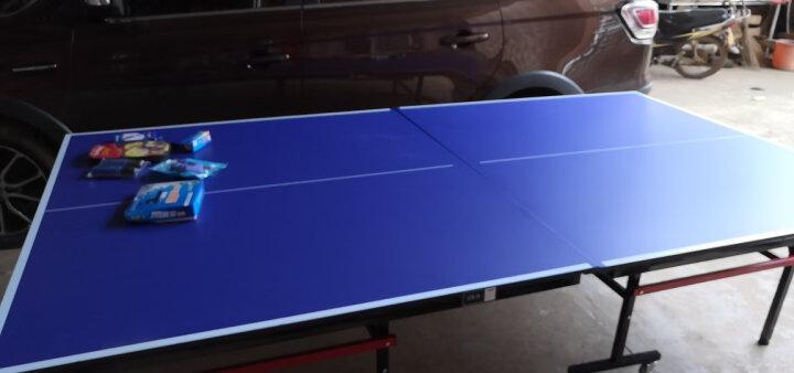 志恒乒乓球桌案子家用室内外训练可折叠移动式兵乓球台 浅蓝色 晒单图
