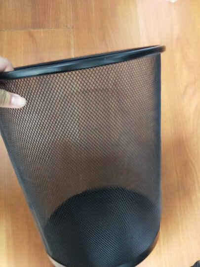 快乐猫(KLM)垃圾桶 超大号φ295mm稳固金属丝网垃圾篓 办公室居家纸篓 B295黑色 晒单图