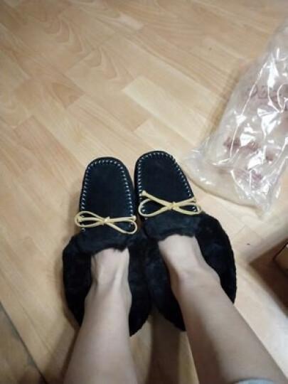 澳洲OZZEG 豆豆鞋女冬季加绒棉鞋保暖羊皮毛一体平底防滑孕妇鞋 咖啡色 37 晒单图