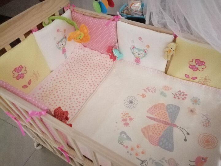 优逸斯 婴儿床围防撞围栏纯棉床帏床挡布摇篮垫一片式可拼接(6片装) 粉色小猫和小花 晒单图