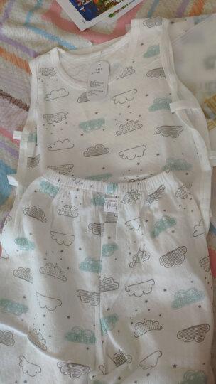 南极人(Nanjiren) 婴儿琵琶衣夏季薄款男女宝宝无袖背心套装新生儿内衣新款无袖两侧镂 绿色绅士熊 110CM 晒单图