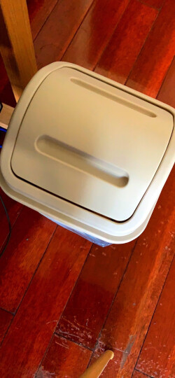 一口米 创意摇盖式大号有盖垃圾桶 家用 客厅卧室厨房卫生间家用卫生桶 带盖小号翻盖塑料垃圾收纳筒纸篓 带盖-卡其色 大号 12L(23*23*38cm) 晒单图