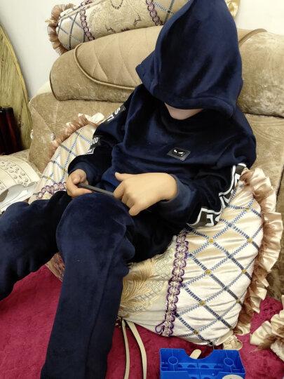 【双面绒三件套】马可小熊童装男童冬装套装新款儿童中大童冬加绒加厚三件套MS7708 黑色 130(建议身高125cm) 晒单图