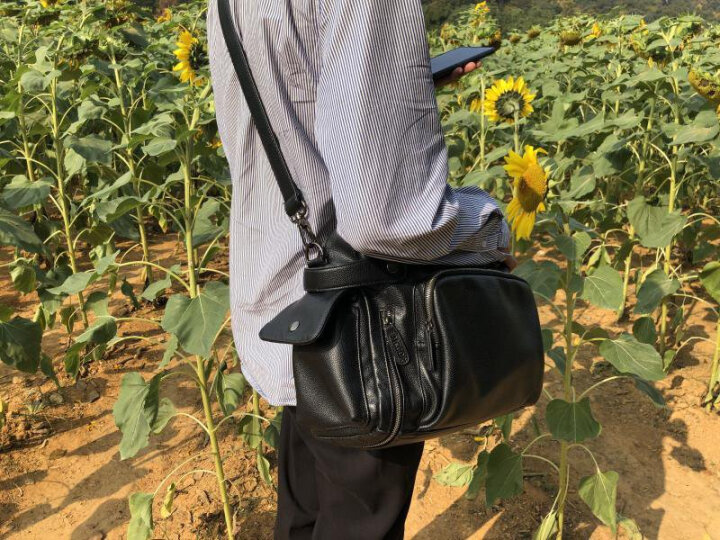 麦哲(MCGOR)男包单肩包男士休闲包韩版斜挎手提时尚潮流包A8329MG 升级版(黑色大号) 晒单图