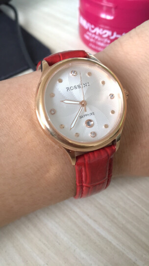 罗西尼(ROSSINI)手表 CHIC系列 间金镶钻时尚红皮石英表 女士手表516734G01C 晒单图