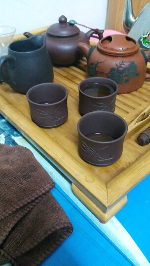 吉羊 宜兴紫砂壶茶道配件 一口杯小茶杯品茗主人杯 紫泥/竹叶杯/60ml 晒单图
