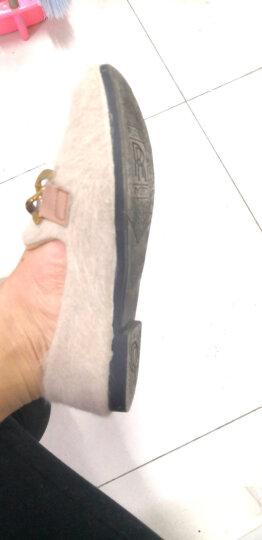 素蕊 棉鞋女冬季新品女鞋豆豆鞋女加绒金属扣英伦风毛毛鞋女休闲平底女单鞋女棉鞋 K3杏色加绒 37 晒单图