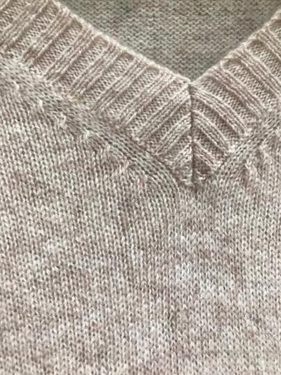 雪莲秋冬新款女士山羊绒衫百搭V领套头女毛衣针织衫 打底衫 羊绒衫女 中花灰 R601 M(100) 晒单图