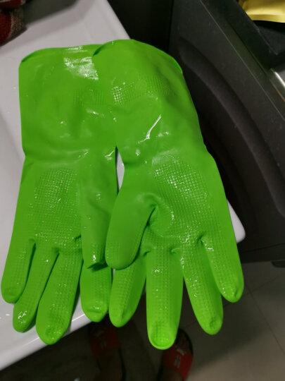 妙洁清洁家务橡胶手套 厚绒保暖均码加长护腕防水防滑皮厨房洗碗 晒单图