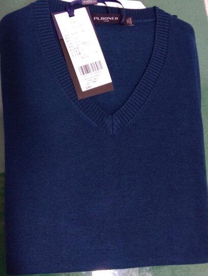 宝利博纳 薄款毛衣男V领韩版针织衫男修身套头衫男纯色 PL17071 深蓝色17071 180(XL) 晒单图
