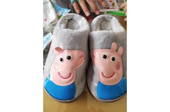 始丰儿童拖鞋男女童保暖包跟家居防滑卡通小孩软底棉鞋 梅红【包跟】 18码【内长16cm】 晒单图