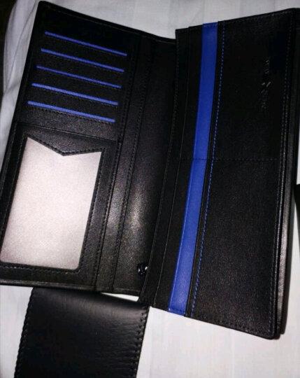 卓梵阿玛尼男士钱包长款真皮皮夹子牛皮钱夹商务休闲黑色零钱包多功能皮夹 新款黑色(可放手机) 晒单图