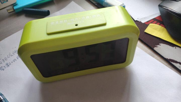 天章办公(TANGO) 探戈电子温度计多功能日历时钟闹钟 办公桌面电子时钟 语音报时 夜光自动感应 绿色 晒单图