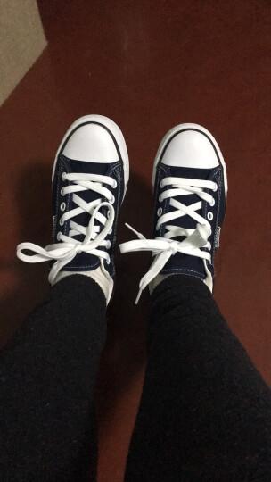 人本帆布鞋女厚底布鞋松糕跟小白鞋牛仔休闲鞋女百搭学生1992鞋子 中兰 38 晒单图
