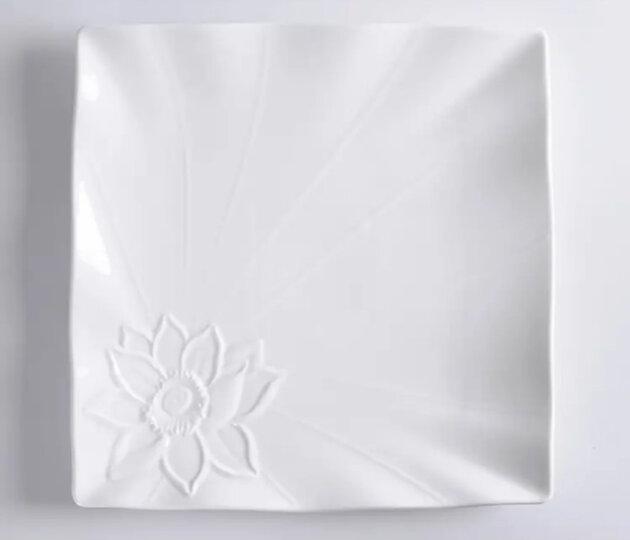 同光 异形酒店陶瓷餐具碟子西餐烘培牛排蛋糕早餐四方平盘纯白色创意意面盘子10寸牛排盘 10寸花仙子款边长25厘米 晒单图