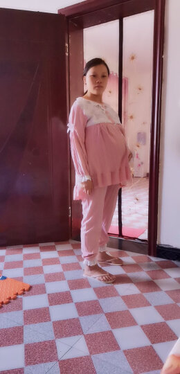 七采雏菊春秋月子服纯棉孕妇睡衣秋冬季哺乳衣长袖套装孕妇装喂奶衣外出母婴用品 923蓝色 纯棉款 月子服 XL码 晒单图