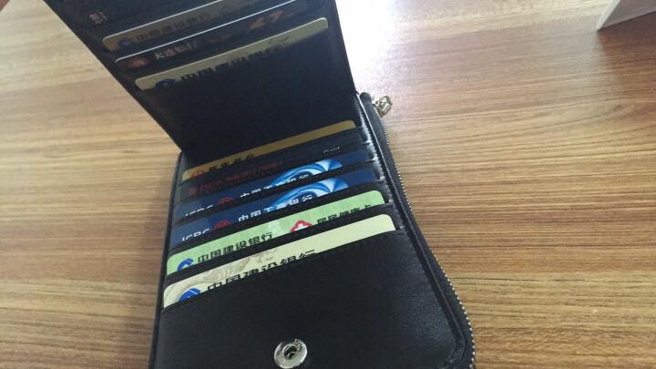 英皇保罗防盗刷卡包男士钱包长款多卡位皮夹头层牛皮拉链卡夹大容量钱夹 黑色十字纹 晒单图