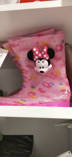 迪士尼(Disney)儿童雨鞋 男女童中筒防滑雨靴 15492 米妮粉35码 晒单图