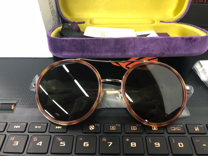 GUCCI 古驰 eyewear 太阳镜女 复古圆框墨镜 金属镜架 GG0061S-002 哈瓦那镜框绿色镜片 56mm 晒单图