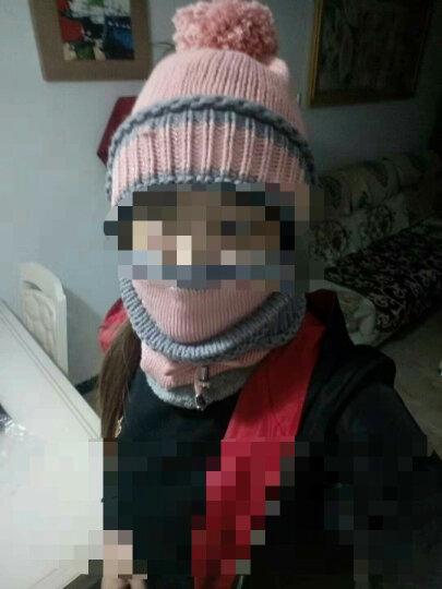 哲时 冬季女士毛线针织帽子加厚保暖帽口罩围脖骑车遮脸护耳帽MZ1304 粉色 均码适合55-60头围 晒单图