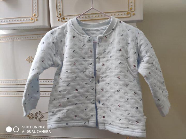 童泰婴儿衣服新生儿宝宝加厚保暖内衣套装秋冬装3个月-3岁 白色 90码(18-24个月) 晒单图