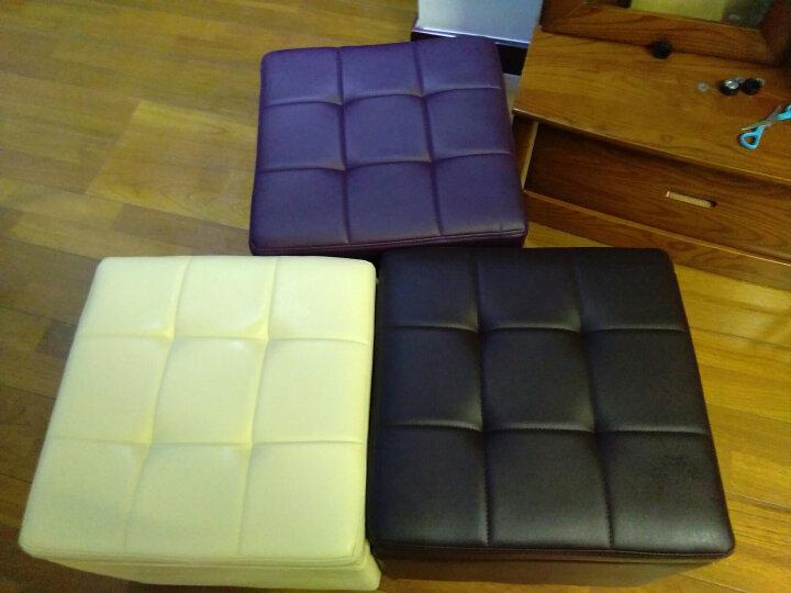 择木宜居 实木试换鞋凳沙发皮凳子小坐梳妆凳储物脚踏 枣红色 34*34*36 晒单图