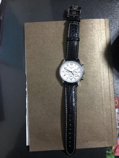 豪克鳄鱼皮表带 男女士通用手表带蝴蝶扣真皮表带适用于浪琴名匠天梭力洛克帝陀欧米茄天王万国手表皮带 黑色白线--银色扣 20mm 晒单图