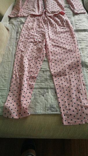 芬腾 春秋长袖纯棉睡衣女波点开衫月子家居服套装女9613586 粉色 S 晒单图