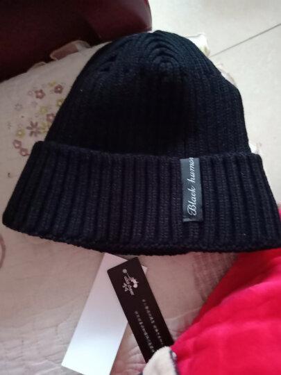 喀吱coolcheer毛线帽男布标冬季加绒保暖套头帽子包头帽户外防寒加厚棉帽 黑色 M(56CM-29CM) 晒单图