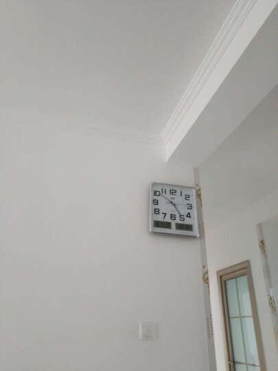 康巴丝(Compas)挂钟16英寸万年历温湿度钟表创意客厅静音时钟简约挂表方形日历石英钟C2983Y夜光黑白 晒单图
